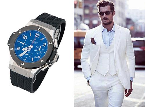Мужские часы Хубло в стальном цыете с черным каучуковым ремнем