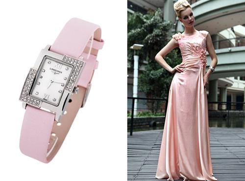 Женские розовые часы Лонжин