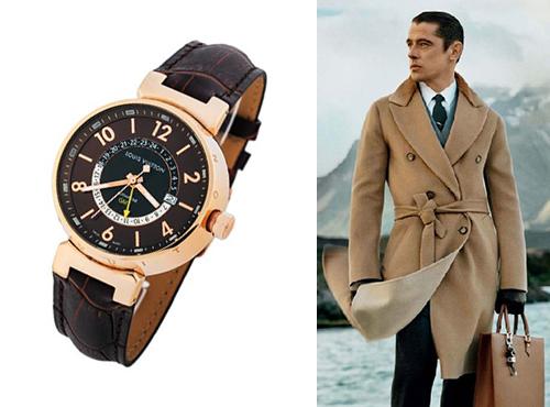 Мужские часы Луи Витон в золоте на коричневом кожаном ремне