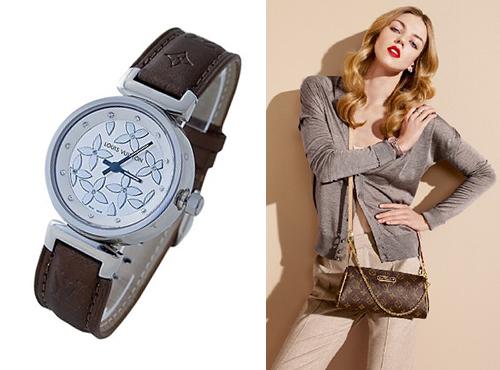 Женские Часы Луи Витон в стальном корпусе с камнями на циферблате
