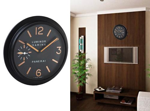 настенные часы панерай в черном цвете