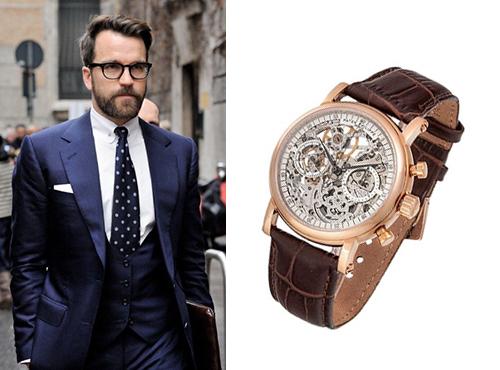 Мужские часы Патек Филипп в золоте на коричневом кожаном ремне