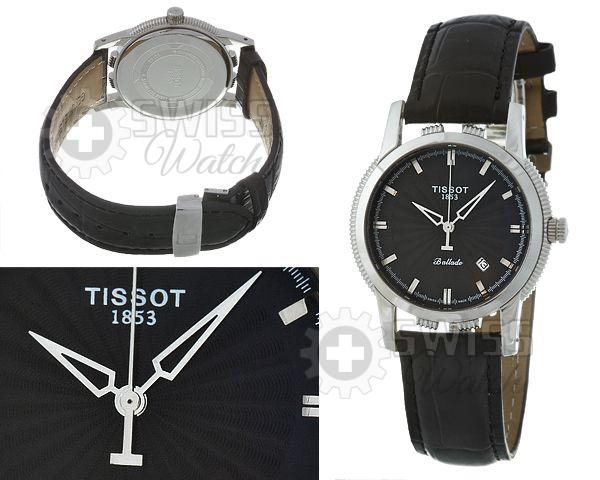 Часы Тиссот с черным циферблатом и стальными делениями