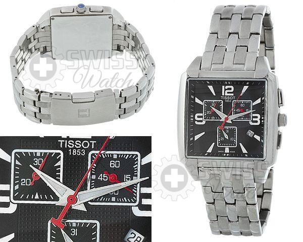 Часы Tissot с красными стрелками и стальным браслетом