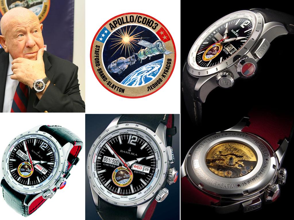 """ГодинникBasilika Soyuz-Apollo був випущений на честь історичної стивковкі """"Союз-Аполлон"""" і подарований Олексію Леонову в 2010 році"""