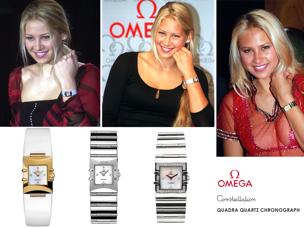 Анна Курнікова в годиннику Omega Constellation Quadra Chronograph