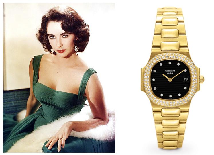 Годинник Елізабет Тейлор Nautilus від Patek Philippe, золотий з діамантами.