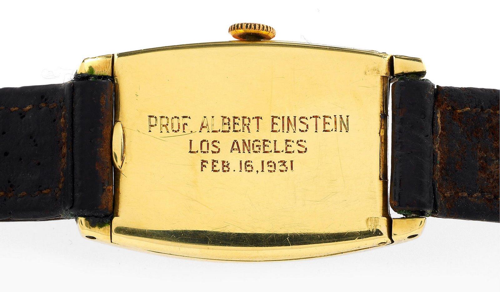 """Гравірування на задній частині корпусу золотого Longines """"Професор Альберт Ейнштейн, Лос-Анджелес, 16 лютого 1931"""""""