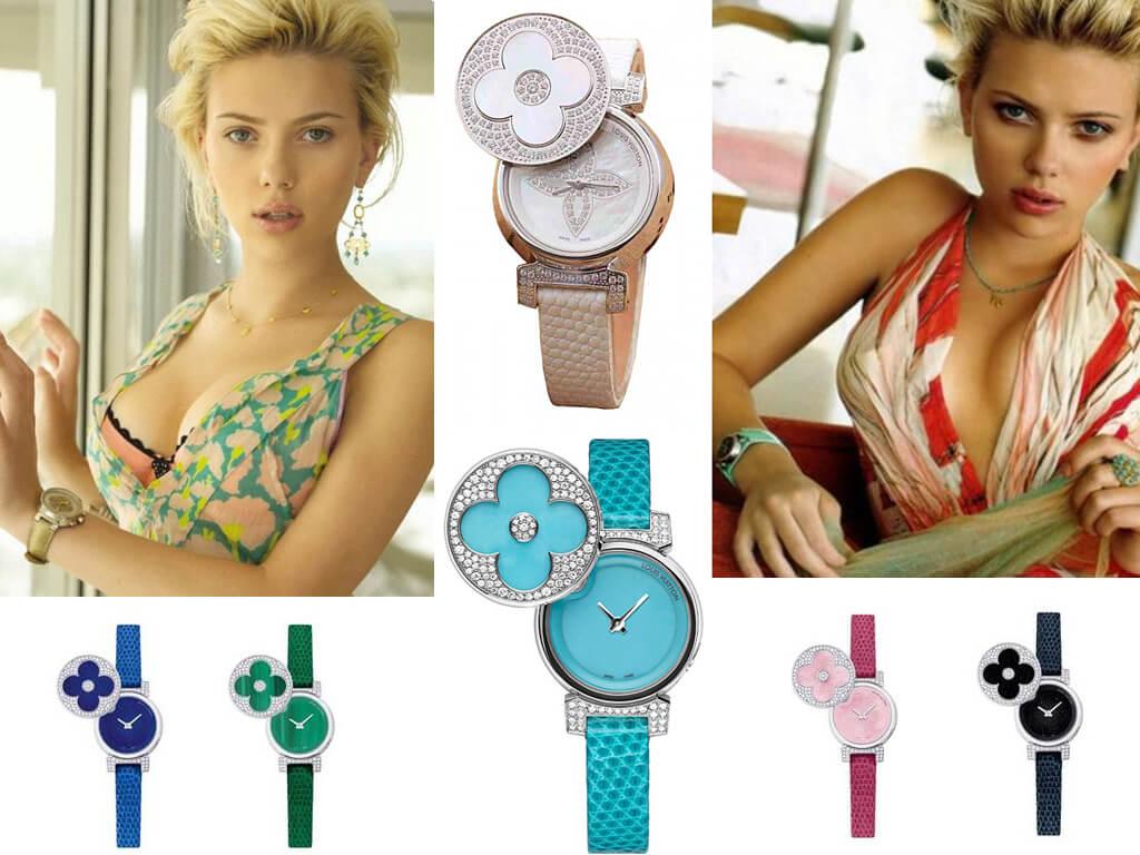 Скарлетт Йоханссон і її годинник з колекції Louis Vuitton Tambour Secret Turquoise