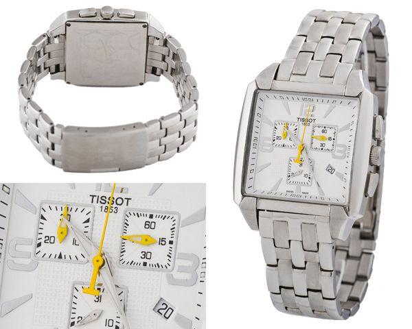 Часы Tissot на стальноб браслете и жолтыми стрелками