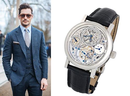 Мужские часы Брегет на черном ремне в стальном корпусе