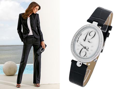 Женские часы Бригет на черном ремне с камнями