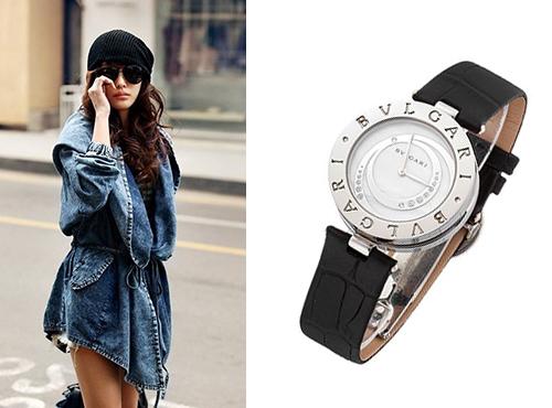 Женские часы Булгари с белым циферблатом на кожаном ремне