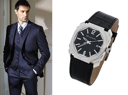 Мужские часы Булгари прямоугольной формы на кожаном ремне