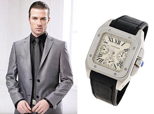 Мужские часы Картье прямоугольной формы с белым циферблатом на кожаном ремне