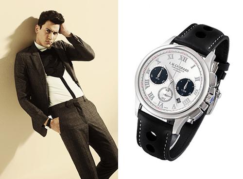 Мужские часы Шопар круглоый формы с серебристым циферблатом на черном ремне