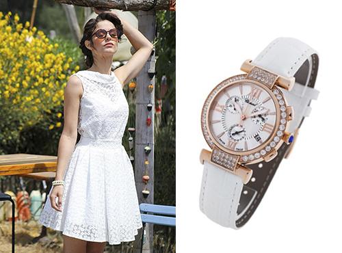 Жнские часы Шопар в золоте с камнями на белом ремне