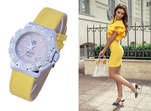 Женские часы Таг Хоер на желтом ремне