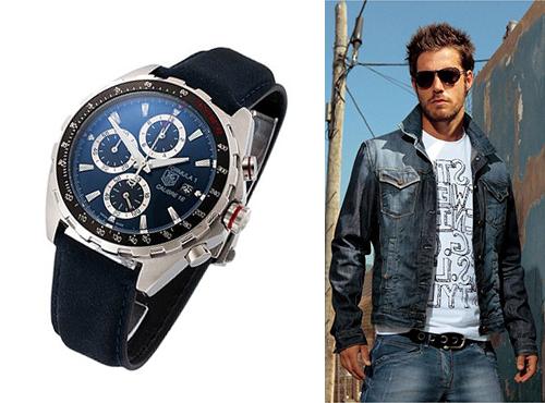 мужские часы Таг Хоер с синим циферблатом на синем ремне