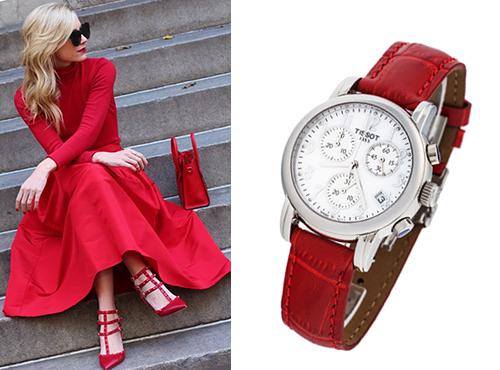 Женская  копия часов Тиссот Т-Классик красный ремешок