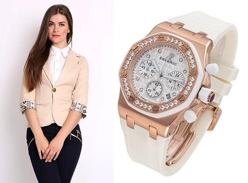 Женские часы Адемар Пиге на белом ремне