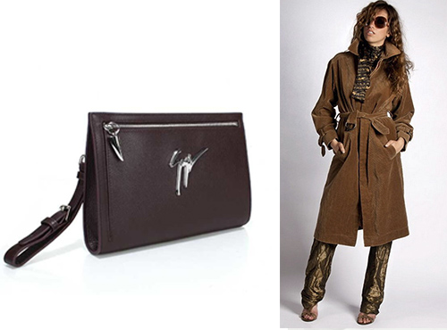 Женский фирменный кожаный клатч Giuseppe Zanotti