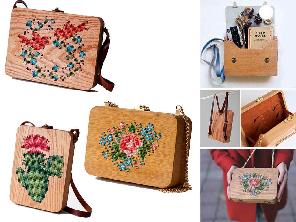 Дерев'яна сумочка з вишивкою по дереву від бренду GRAV GRAV