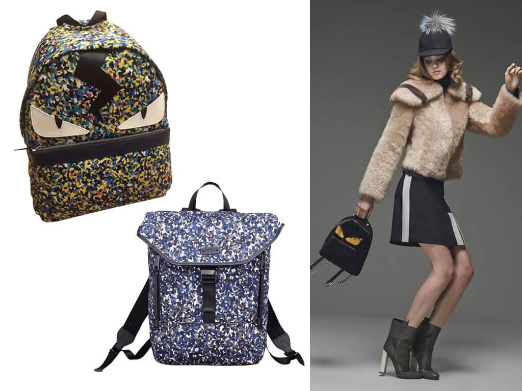 Текстильний рюкзак з оригінальним принтом і шкіряними вставками - актуальний тренд сезону