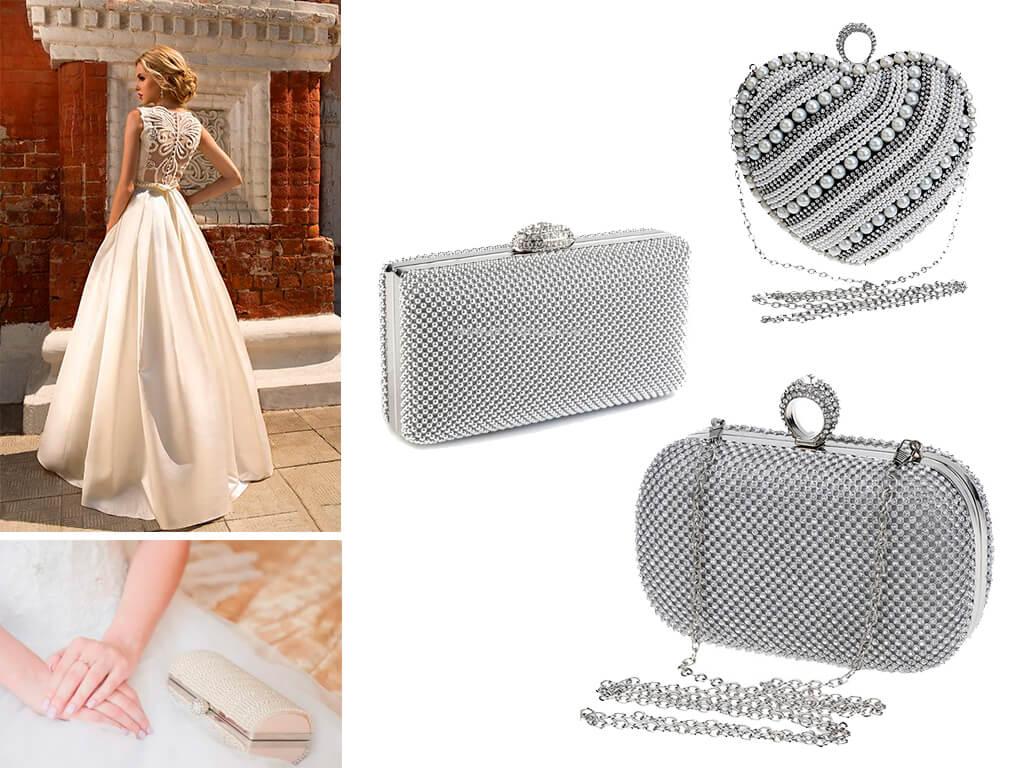 Блискучі кристали і перли - найпопулярніший декор, який використовується в оформленні весільних сумочок