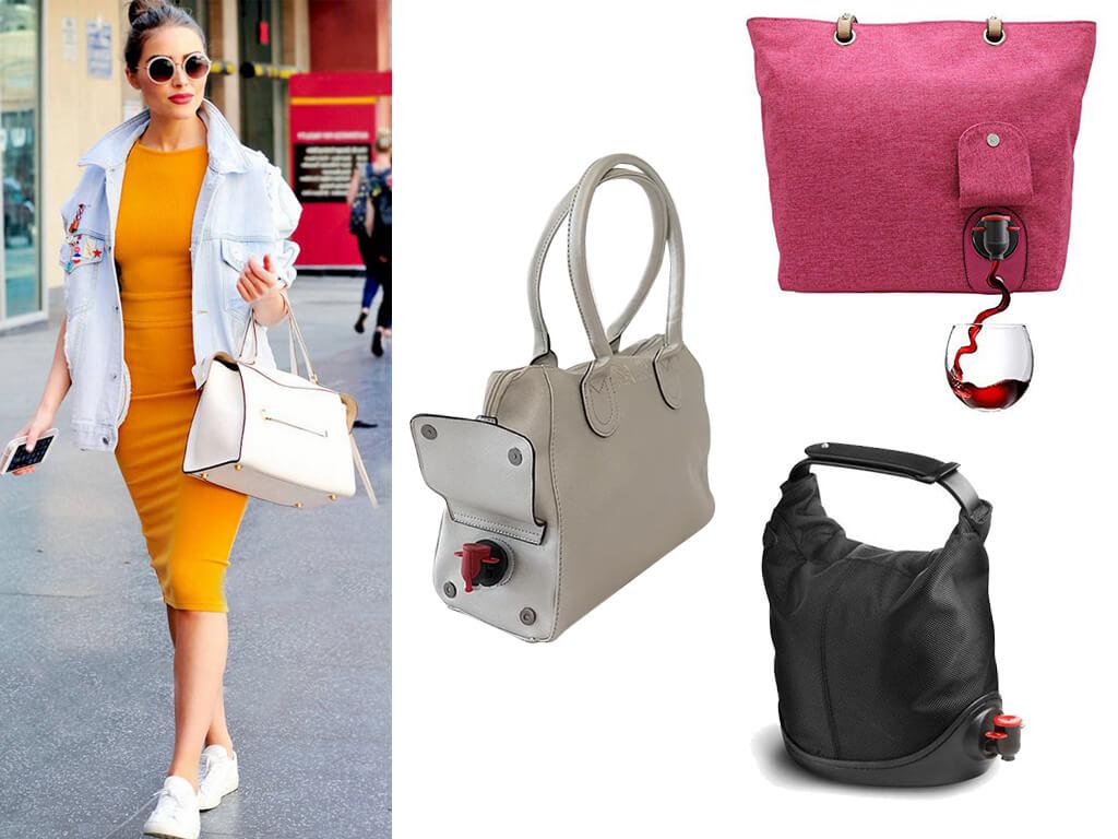 Жіночі сумки з прихованою ємністю для вина оснащені краником, який зазвичай «ховають» під декоративним клапаном