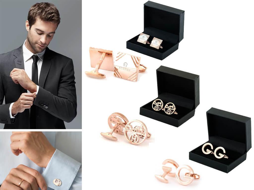 Запонки повинні поєднуватися за кольором з іншими аксесуарами: затискачем для краватки і годинником