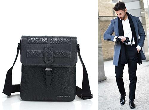 Кожаная мужская сумка Барбери